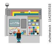 machine operator on factory... | Shutterstock . vector #1142550533