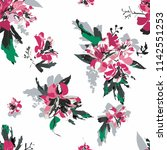 seamless floral pattern with... | Shutterstock .eps vector #1142551253