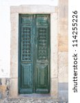 Old Wooden Green Doors On The...