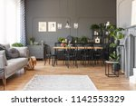 spacious flat interior with... | Shutterstock . vector #1142553329