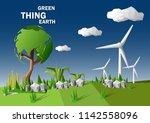 low polygonal geometric concept ... | Shutterstock .eps vector #1142558096