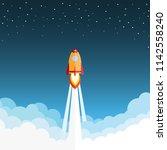 rocket launch and smoke through ... | Shutterstock .eps vector #1142558240