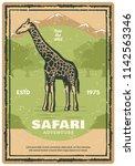 safari adventure retro grunge... | Shutterstock .eps vector #1142563346