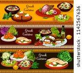 greek cuisine traditional food...   Shutterstock .eps vector #1142567636