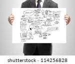 businessman holding plan business strategy - stock photo