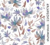 hand drawn seamless pattern... | Shutterstock . vector #1142569769