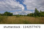 Small photo of uncut meadow against the sky in the clouds on a summer day