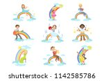kids playing music instruments... | Shutterstock .eps vector #1142585786