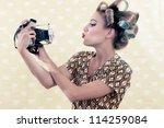 Woman Taking Self Portrait ...