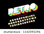 colorful retro font  80s style... | Shutterstock .eps vector #1142592296