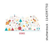 science icons in flat design... | Shutterstock .eps vector #1142597753