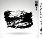 black brush stroke and texture. ... | Shutterstock .eps vector #1142597906