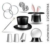 magician symbol set with black... | Shutterstock . vector #1142605466