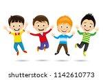 cheerful children in a jump on... | Shutterstock .eps vector #1142610773
