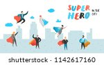 superhero business people... | Shutterstock .eps vector #1142617160