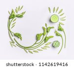 green botanical flat lay with...   Shutterstock . vector #1142619416