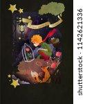 little boy with rose an fox...   Shutterstock .eps vector #1142621336