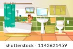 cartoon young man having bath... | Shutterstock . vector #1142621459