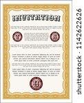 orange retro vintage invitation....   Shutterstock .eps vector #1142622626