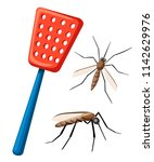 fly swatter with mosquitos.... | Shutterstock .eps vector #1142629976