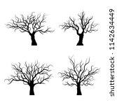 Black Trees Silhouette On White ...