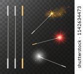 vector realistic magic wands... | Shutterstock .eps vector #1142634473