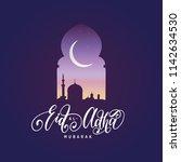 eid al adha mubarak... | Shutterstock .eps vector #1142634530
