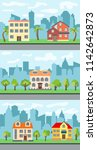 set of three vector... | Shutterstock .eps vector #1142642873
