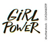 girl power quote. grl pwr hand... | Shutterstock .eps vector #1142646059