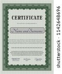 green certificate or diploma... | Shutterstock .eps vector #1142648696