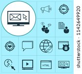 seo icons set with video... | Shutterstock .eps vector #1142649920