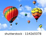 colorful hot air balloons over... | Shutterstock . vector #114265378