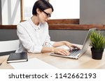 business woman working in the... | Shutterstock . vector #1142662193