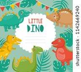little dino. cute childish card ...   Shutterstock .eps vector #1142669240