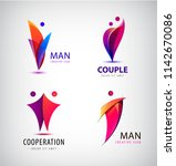 vector men group logo  human ... | Shutterstock .eps vector #1142670086