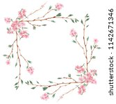branch of cherry blossom  ... | Shutterstock . vector #1142671346