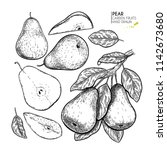 hand drawn whole  sliced pear... | Shutterstock .eps vector #1142673680