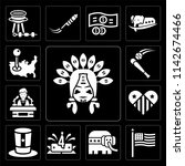 Set Of 13 simple editable icons such as Indian, Flag, Republican, 4th of july, Hat, Heart, Conference, Baseball, Placeholder, web ui icon pack