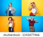 collage with hipster girl on... | Shutterstock . vector #1142677466