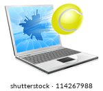 Illustration of a tennis ball flying out of a broken laptop computer screen - stock vector