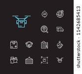 cargo icons set. logistics and...