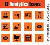 analytics icon set. orange... | Shutterstock .eps vector #1142691563