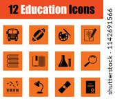 education icon set. orange... | Shutterstock .eps vector #1142691566