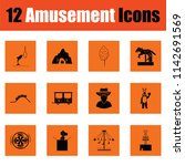 amusement park icon set. orange ... | Shutterstock .eps vector #1142691569