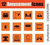 amusement park icon set. orange ... | Shutterstock .eps vector #1142691590