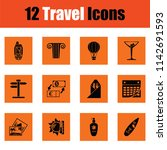 travel icon set. orange design. ... | Shutterstock .eps vector #1142691593