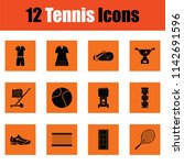 tennis icon set. orange design. ... | Shutterstock .eps vector #1142691596