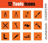 set of tools icons. orange... | Shutterstock .eps vector #1142691599