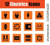 electrics icon set. orange... | Shutterstock .eps vector #1142691620
