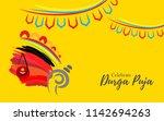 artistic durga puja background... | Shutterstock .eps vector #1142694263